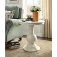 Rosemont Antique White Pedestal Side Table