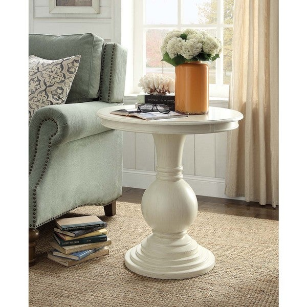 Rosemont Antique White Pedestal Side Table. Opens flyout.