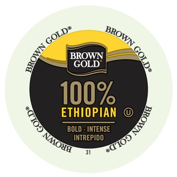 Brown Gold Coffee 100 Percent Ethiopian Realcup Portion Pack For Keurig Brewers