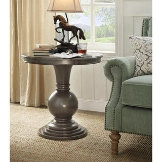 Rosemont Brushed Grey Pedestal Accent Table