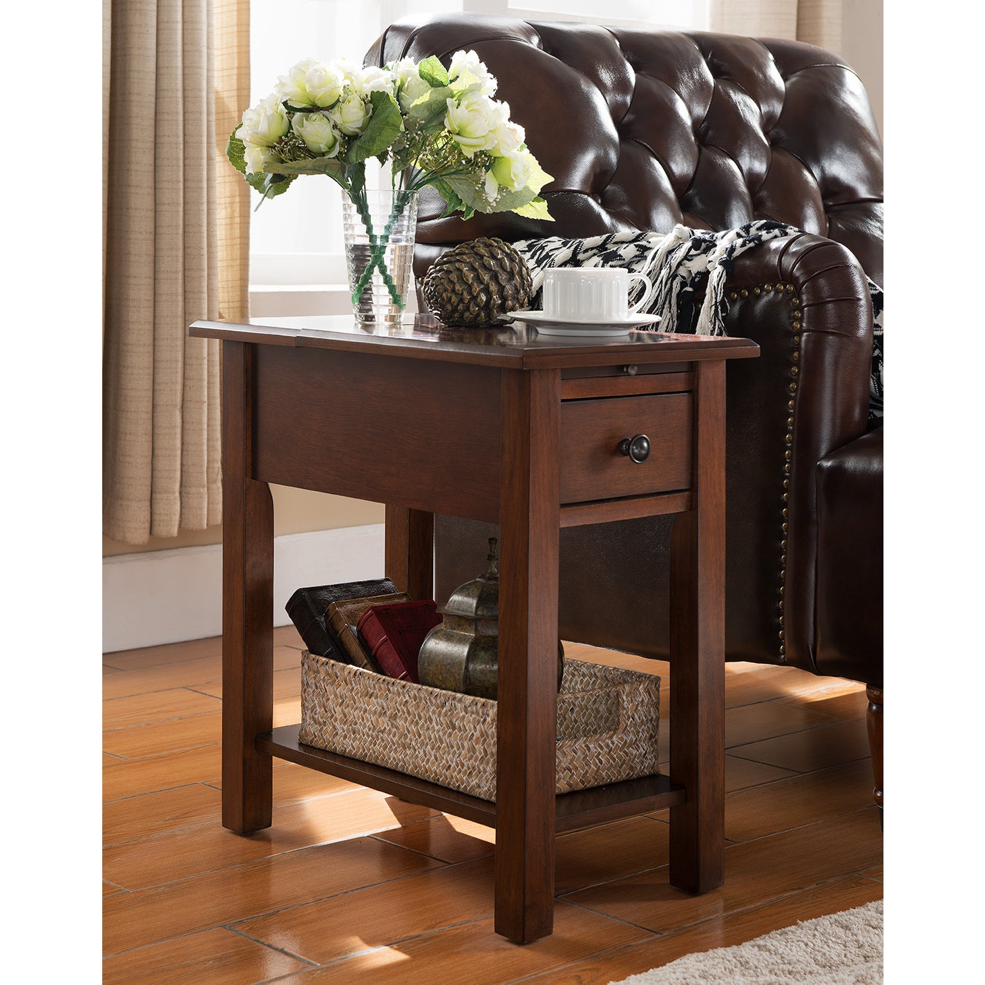 Sutton Side Table With Charging Station In Espresso Ebay