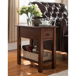Lovely Sutton Side Table With Charging Station In Espresso
