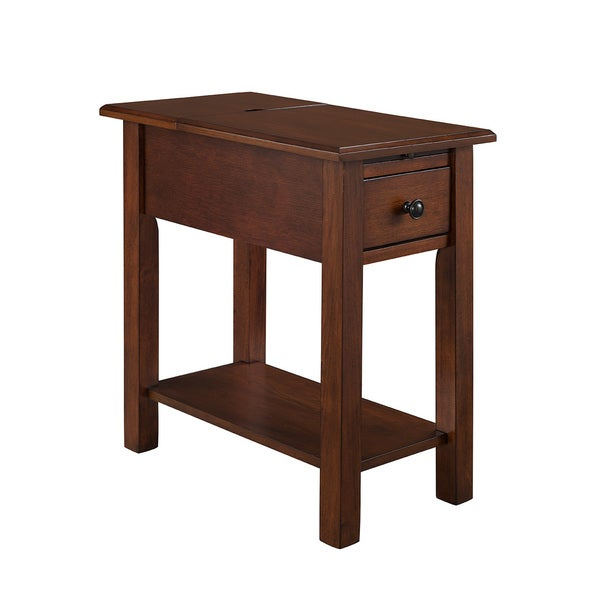Sutton Side Table With Charging Station In Espresso   Free Shipping Today    Overstock.com   19206674