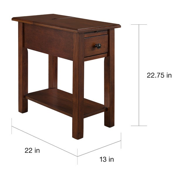 Beautiful Sutton Side Table With Charging Station In Espresso   Free Shipping Today    Overstock.com   19206674