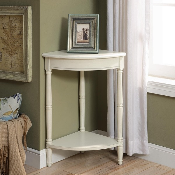 Shop Corrine Antique White Corner Table Overstock 12384052