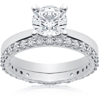 14k White 1 3/4 ct Lab Grown Eco Freindly Diamond Engagement Ring & Matching Eternity Band (F-G, SI1-SI2)