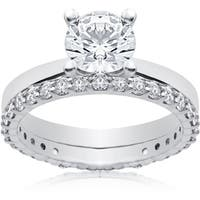 14k White 1 3/4 ct Lab Grown Eco Freindly Diamond Engagement Ring & Matching Eternity Band