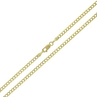 14k Yellow Gold 2.5mm Solid Cuban Curb Link Diamond-cut Pave Chain Necklace