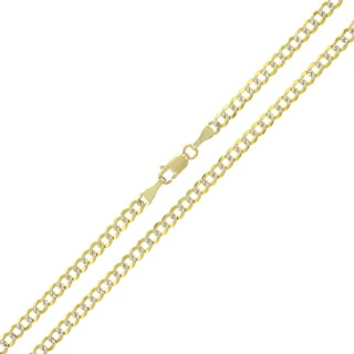 14k Yellow Gold 3mm Solid Cuban Curb Link Diamond-cut Pave Chain Necklace