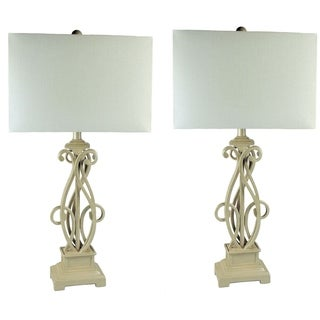 JT Lighting Contemporary Scroll Metal Table Lamps (Set of 2)