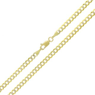 14k Yellow Gold 3.5mm Solid Cuban Curb Link Diamond-cut Pave Chain Necklace