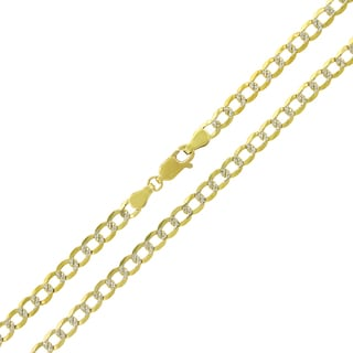 14k Yellow Gold 4mm Solid Cuban Curb Link Diamond-cut Pave Chain Necklace