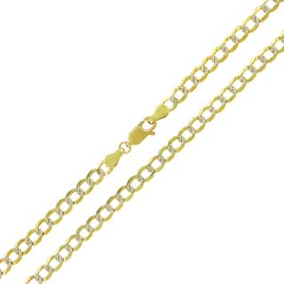 14k Yellow Gold 4mm Solid Cuban Curb Link Diamond-cut Pave Chain Necklace|https://ak1.ostkcdn.com/images/products/12384263/P19206888.jpg?impolicy=medium