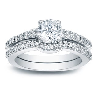 Auriya Platinum 1ct TDW Certified Diamond Bridal Ring Set