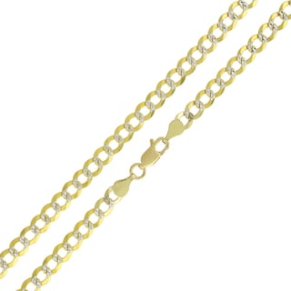 14k Yellow Gold 4.5mm Solid Cuban Curb Link Diamond-cut Pave Chain Necklace