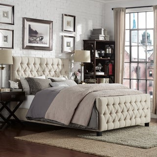 Knightsbridge Tufted Nailhead Chesterfield Platform Bed with Footboard by iNSPIRE Q Artisan