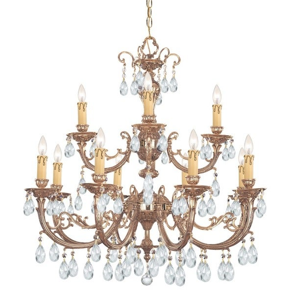 Crystorama Etta Collection 12-light Olde Brass/Crystal Chandelier - Gold