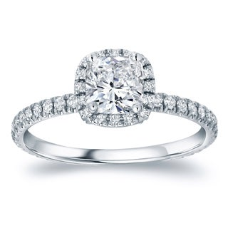Auriya Platinum 1 1/2ct TDW Certified Cushion Diamond Engagement Ring (H-I, SI1-SI2)