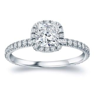 Auriya Platinum 1 1/2ct TDW Certified Cushion Diamond Engagement Ring (H-I, SI1-SI2)