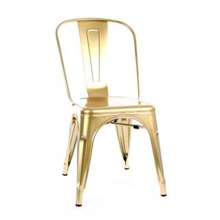 Amalfi Metallic Gold Steel Stackable Dining Chair (Set of 4)