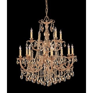 Crystorama Etta Collection 12-light Olde Brass/Golden Teak Crystal Chandelier