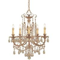 Crystorama Etta Collection 5-light Olde Brass/Golden Teak Crystal Chandelier