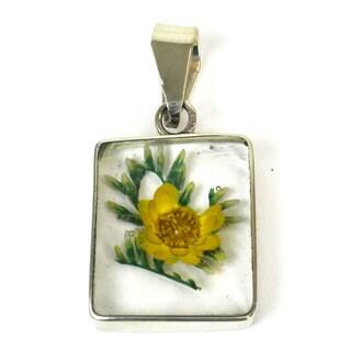 Handmade Alpaca Silver and Nahua Flower Pendant - Artisana Jewelry (Mexico)