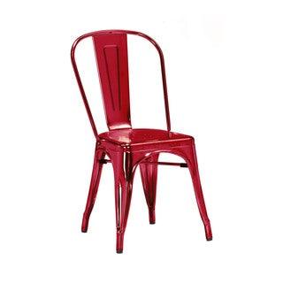 Amalfi Chrome Wine Red Steel Side Chair (Set of 4)