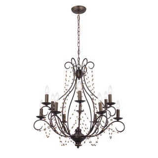 Crystorama Angelina Collection 12-light English Bronze Chandelier