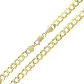 14k Yellow Gold 5.5mm Solid Cuban Curb Link Diamond-cut Pave Chain Necklace