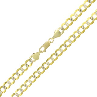 """14k Yellow Gold 5.5mm Solid Cuban Curb Link Diamond Cut Two-Tone Pave Necklace Chain 20"""" - 30"""""""