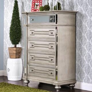 Furniture of America Marisalla Contemporary Silver Glam Mirrored 5-Drawer Chest