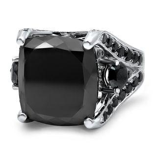 Noori 14k Black Gold 13 3/4ct TDW Cushion-cut Black Diamond Engagement Ring (G-H, SI1-SI2)