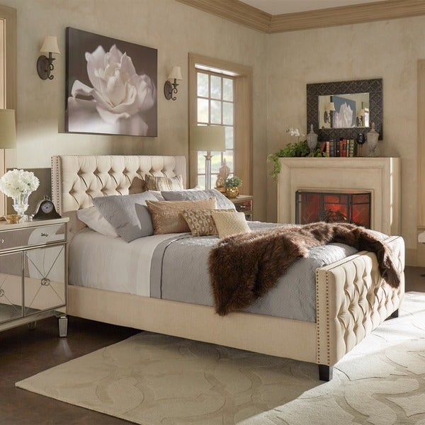 Knightsbridge Tufted Nailhead Chesterfield Bed with Footboard by iNSPIRE Q Artisan. Opens flyout.