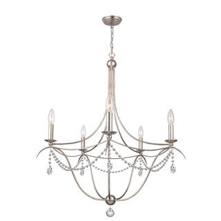 crystorama metro collection 5light antique silver chandelier