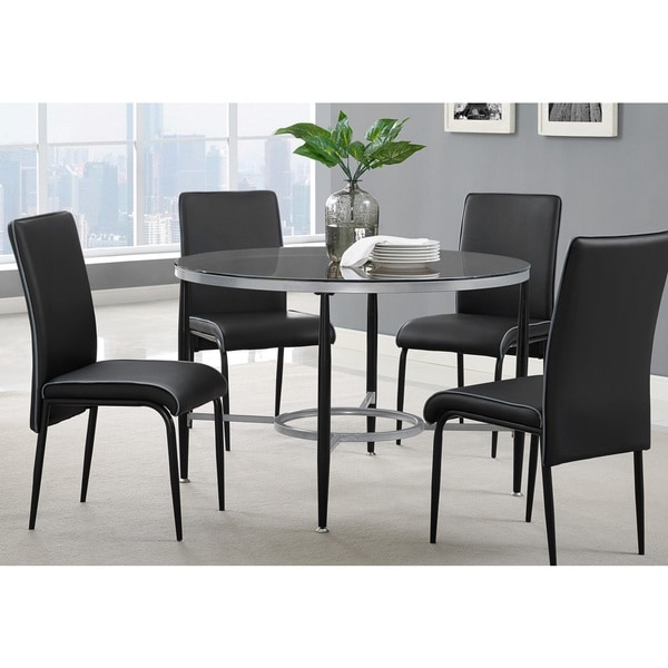 shop athena black metal glass round dining table free shipping today overstock 12384404. Black Bedroom Furniture Sets. Home Design Ideas