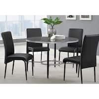Athena Black Metal Glass Round Dining Table