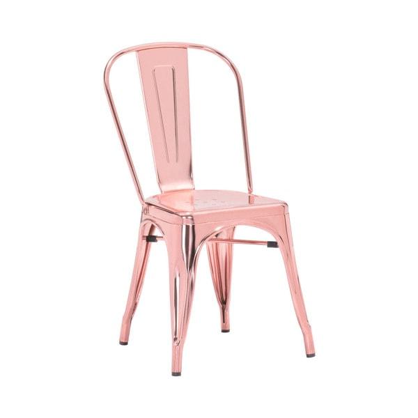 Amalfi Metallic Light Rose Gold Steel Dining Chair (Set of 4). Opens flyout.