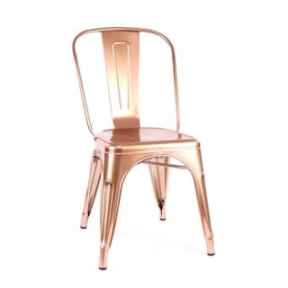Amalfi Chrome Light Rose Gold Steel Side Chair (Set of 4)