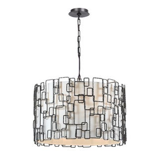Crystorama Lattice Collection 6-light Raw Steel Chandelier