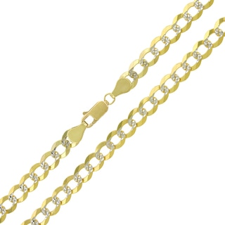 14k Yellow Gold 6mm Solid Cuban Curb Link Diamond-cut Pave Chain Necklace