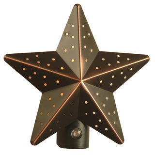 """Amertac 75050VB 4.875"""" X 4.875"""" X 3"""" Punched Tin Star Night Light"""
