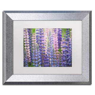 Cora Niele 'Blue Pink Lupine Flowers' Matted Framed Art