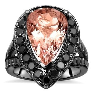 Noori 14k Black Gold Morganite and 1 1/2ct TDW Black Diamond Engagement Ring