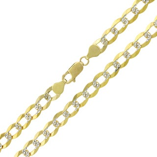 14k Yellow Gold 6.5mm Solid Cuban Curb Link Diamond-cut Pave Chain Necklace