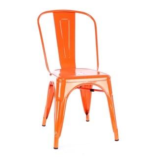 Amalfi Glossy Orange Mango Steel Stackable Dining Chair (Set of 4)