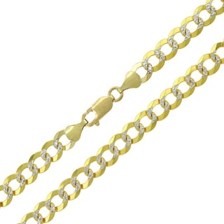 14k Yellow Gold 7mm Solid Cuban Curb Link Diamond-cut Pave Chain Necklace