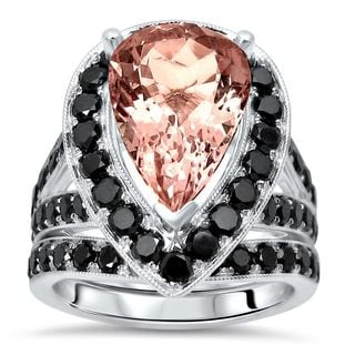 Noori 14k White Gold Morganite 2ct TDW Black Diamond Engagement Ring Set