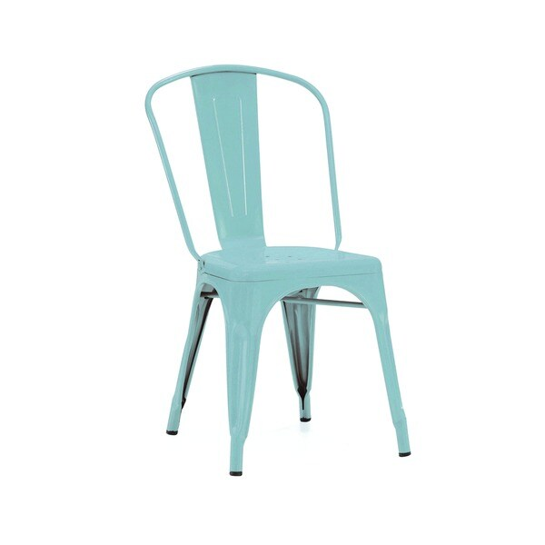 Amazing Shop Amalfi Matte Cyan Steel Stackable Dining Chair Set Of Ibusinesslaw Wood Chair Design Ideas Ibusinesslaworg