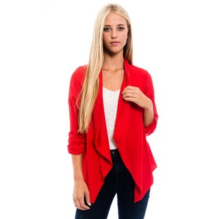 Women's Red Polyester Open Cardigan